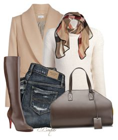 White Sweater And Brown by ccroquer on Polyvore featuring polyvore, moda, style, Maiyet, Christian Louboutin, Burberry, fashion and clothing