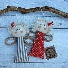 @ Angeli in stila conutry,cucito creativo,Angels,Dekorácie - Anjelik Christmas Angel Crafts, Clay Christmas Decorations, Christmas Sewing, Christmas Love, Diy Christmas Ornaments, Christmas Projects, Holiday Crafts, Soft Dolls, Fabric Dolls