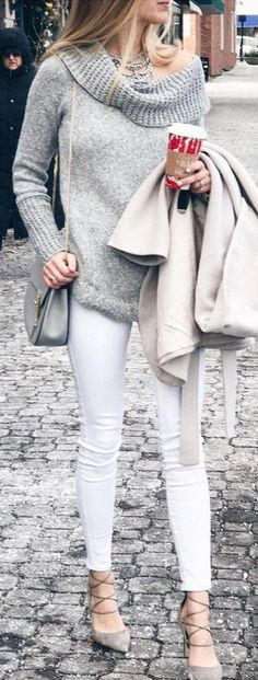 #winter #fashion / Grey Off The Shoulder Knit & White Skinny Jeans