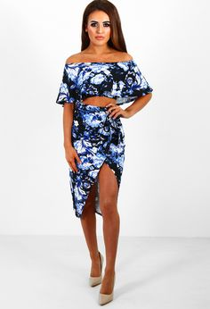 Wrap Party Blue Multi Floral Midi Skirt