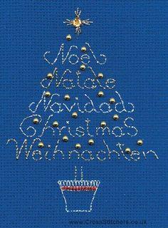 International Tree Christmas Greetings Card Cross Stitch Kit from Derwentwater Designs
