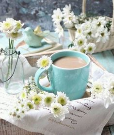 Anyone want to join my Spring Tea Party? Coffee Talk, Coffee Is Life, Coffee Love, Blue Coffee Cups, Tea Cups, Book Flowers, Tea And Books, Good Morning Coffee, Coffee Pictures
