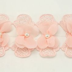 Pink Flower Chiffon Trim Chiffon Lace baby girls Hair by annielov, $7.00