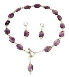 Amethyst Violet Gemstone Beaded Necklace Set - SWCreations - 1