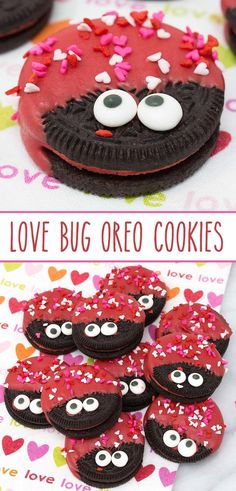 Love Bug Oreo Cookies - delish Hot & Spicy Cinnamon Oreos dressed to impress for Valentine's Day. via @SarahsBakeStudio  #lovebugoreos #lovebugoreocookies #oreocookies #oreos #valentinesdaydesserts #valentinesday #cookies #cinnamonoreos #valentinesdaydesserts