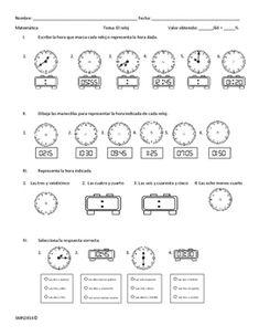 Examen sobre El reloj