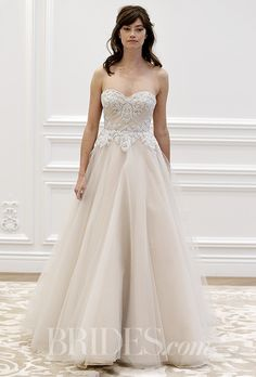 A champagne-colored, A-line @annebargebride wedding dress with an embroidered bodice | Brides.com