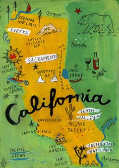 """postcard from california - print $12"" Colorful and fun."