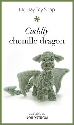 Inspiration for amigurumi Bring ferocious charm to their stocking with the Drake Dragon Stuffed Animal, available at Nordstrom. Soft wings and a cuddly chenille body make it an extra cuddly addition. Discover more finds for kids in the Toy Shop. Crochet Projects, Sewing Projects, Sewing Ideas, Craft Projects, Drake Dragon, Pet Dragon, Toys Shop, Crochet Toys, Free Crochet