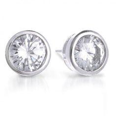 Bling Jewelry 925 Sterling Bezel Set Round Cut CZ Men Unisex Stud Earrings 6mm