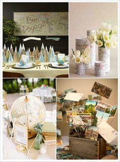 centre de table mariage voyage
