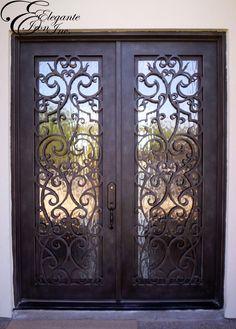 Custom wrought iron front door. Iron Front Door, Modern Front Door, Iron Doors, Old Names, Pin Pin, Double Doors, Entry Doors, Door Design, Wrought Iron
