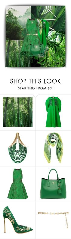 """Green All The Way"" by katyusha-kis ❤ liked on Polyvore featuring WALL, Delpozo, Rosantica, Laura Biagiotti, Alice + Olivia, Prada, River Island, GREEN and nature"