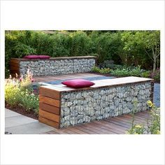 GAP Gardens - Small garden with patio and benches made from wood and gabions backed by Fargesia murielae - Bamboo hedge - Image No: 0209107 - Photo by Elke Borkowski Outdoor Rooms, Outdoor Gardens, Outdoor Living, Outdoor Decor, Backyard Projects, Garden Projects, Stone Water Features, Gabion Wall, Gabion Fence