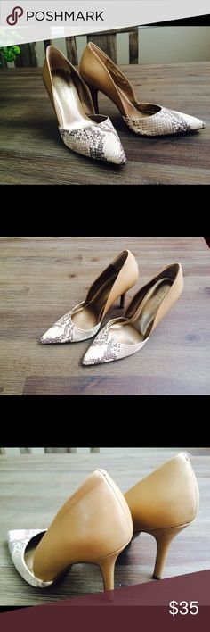 bcbgeneration Dalia Pump nude/snakeskin Worn once, too small for me :( BCBGeneration Shoes Heels