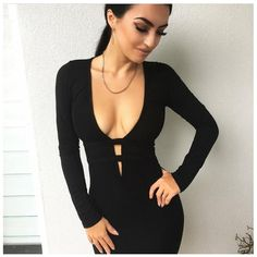 2017 Plunge Deep V Black Dress Casual Club Party Sheath Bodycon Dresses  Women Midi Solid Prom Long Sleeve Women s Vestidos 688bf85ed