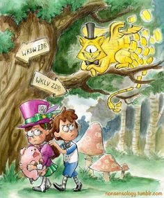 From my Gravity Falls X Alice in Wonderland AU (alternate universe). Bill Cipher as a trickster version of the Cheshire Cat with Dipper and Mabel as Alice and the Hatter respectively. Gravity Falls Crossover, Gravity Falls Fan Art, Gravity Falls Comics, Gravity Falls Anime, Gravity Falls Funny, Gravity Falls Bill Cipher, Billdip, Cartoon Cartoon, Dipper Et Mabel