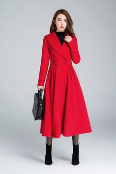 Check out our jackets & coats selection for the very best in unique or custom, handmade pieces from our shops. Red Winter Coat, Red Wool Coat, Long Winter Coats, Long Wool Coat, Winter Coats Women, Coats For Women, Fit And Flare Coat, Red Frock, Swing Coats