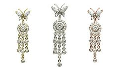 18K Butterfly Ice Pave 7 Dangle by #VenusByMariaTash #Bodyjewelry | Available in White, Yellow and Rose Gold at www.venusbymariatash.com