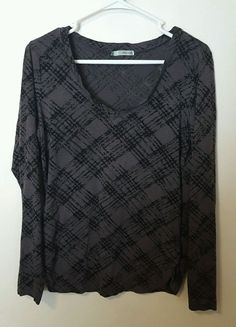Women's Maurices Black Checkered Long Sleeve Burnout Style Tee Size XL #440 in Clothing, Shoes & Accessories, Women's Clothing, Tops & Blouses | eBay