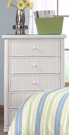 Elana 5 Drawer  Wicker Dresser #white #wicker #furniture Pinned by wickerparadise.com
