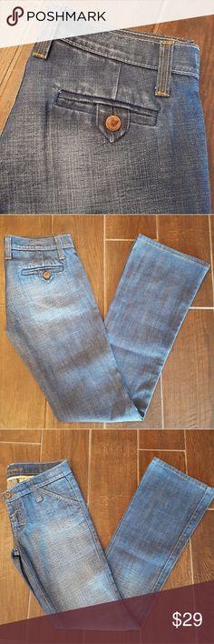 Frankie B. Jeans Medium Wash Yellow Stitching  Extra Low Rise Lightly Worn Frankie B. Jeans Boot Cut