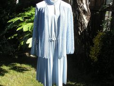 1970s Baby Blue Long Sleeve Belted Dress by Petticoatjanevintage, £15.00