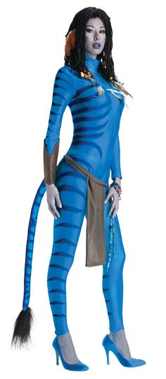 Neytiri Ladies Avatar Halloween Costume - Calgary, Alberta. Neytiri Avatar is a great costume idea for a movie or alien themed Halloween party. Great couples costume if you find a Jake Sully to go with it.  This blue spandex jumpsuit is perfect for your Na'vi alien Neytiri Avatar based Halloween costume this year.  The Avatar costume includes a one piece blue jumpsuit made of a spandex like material with a high collar, an attached long stuffed tail with black faux fur at the end.