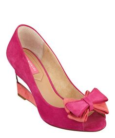 Bright Orchid & Coral Suede Jujubee Wedge by Isaac Mizrahi #zulily #zulilyfinds