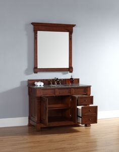 The transitional styling of this single sink vanity base has clean lines that are accented by elegant carvings on the front. This artistic touch adds something special to the already great functionality of the piece. The warm cherry wood finish will be a nice enhancement to the room, with its rich tones. The double door cabinet and the drawer space bring loads of space for storage and organization which is always welcome in the bathroom.<br><br>The dimensions of the piece, at four feet long…