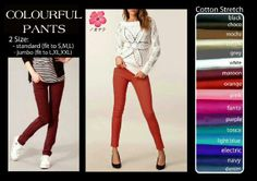 M-Colourful Pants @68, 3@65, 6@62, bahan cotton stretch, fit to L, avail BIG SIZE +6rb dr harga normal