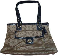 Women's Coach Purse Handbag Penelope Signature Sateen Carryall Khaki/Navy