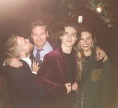 Rob, Armie Hammer, Timothee Chalamet & Elizabeth Chambers at the Gotham Awards after-party, November 27, 2017
