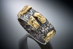 Textured Pebble Ring: Nina Mann: Gold & Silver Ring - Artful Home
