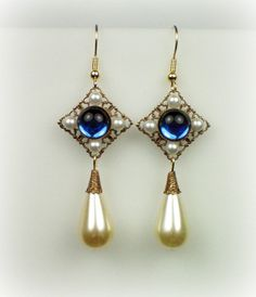 Catherine Parr Sapphire Pearl Earrings cathpear242 by tudorshoppe