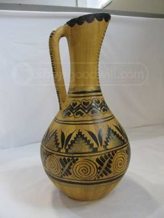 shopgoodwill.com: Lrg Handled Clay Pottery Pitcher w Ehtnic Design