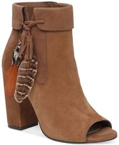 Jessica Simpson Kailey Feather-Detail Peep-Toe Block-Heel Booties - Jessica…
