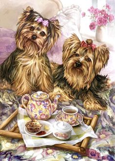 """Yorkshire Terrier Lap of Luxury image size is 11.5"""" x 15"""" on an 11"""" x 17"""" paper. Printed on quality fine art paper with 200 year archival inks. Signed and numbered by the artist. It is a Limited Edition of 350."""