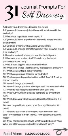 31 Self Discovery Journal Prompts