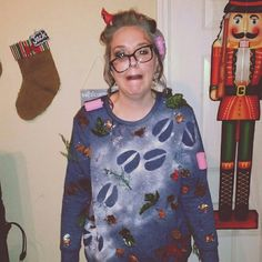 ugly christmas sweater champ: grandma got ran over by a reindeer ! super easy #christmasdiy #uglychristmassweater #tackychristmassweater #diysweater