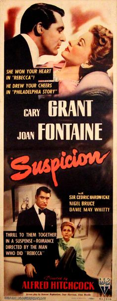 """SUSPICION"" (1941) CARY GRANT, JOAN FONTAINE, NIGEL BRUCE"