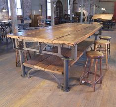 Vintage Industrial Cast Iron and Wood Display Table 2