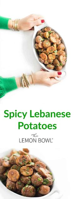 """Spicy Lebanese potatoes, traditionally known as """"batata harra"""" are roasted until crispy then tossed in a fragrant sauce made with garlic, cilantro, cayenne and lemon. The most versatile side dish recipe! Best Vegetarian Recipes, Good Healthy Recipes, Easy Recipes, Whole30 Recipes, Vegetarian Food, Healthy Meals, Free Recipes, Healthy Eating, Best Side Dishes"""