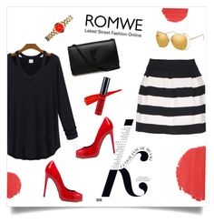 """ROMWE"" by elly-852 ❤ liked on Polyvore featuring KAROLINA, Giuseppe Zanotti, NYX, Burberry, Yves Saint Laurent, Marc by Marc Jacobs and Linda Farrow"