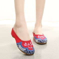 Women Casual Chinese Embroidered Flower Slippers Loafer Sandals Shoes XZ048 #Nibox #LoafersMoccasins #Casual