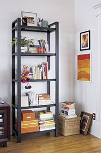Have a small space? Use a backless bookshelf to let the space feel more open and not so stuffy.