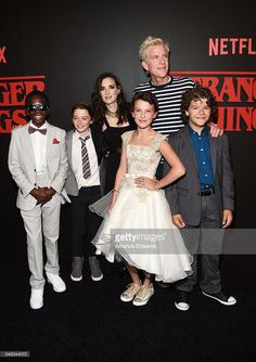 Actors Caleb McLaughlin, Noah Schnapp, Winona Ryder, Millie Bobby Brown, Matthew Modine and Gaten Matarazzo arrive at the premiere of Netflix's 'Stranger Things' at Mack Sennett Studios on July 11, 2016 in Los Angeles, California.