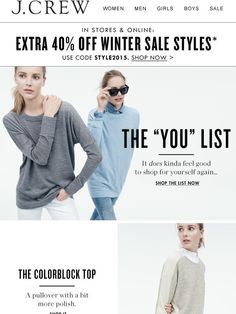 Finally, a list that's all about you - J.Crew Email Newsletter Design