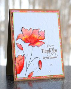 thank you for your kindness subtle embossed background using a stencil!