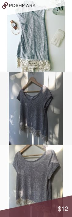 Gray Top  Light/medium gray with cream accent Almost like new Knitted/ threaded type material  Last 3 pictures show most accurate color, first picture has a filter. Also-- only tip is for sale, other items are for decoration only Aeropostale Tops Tees - Short Sleeve